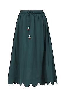 Bottle Green Scallop Midi Skirt by Ka-Sha