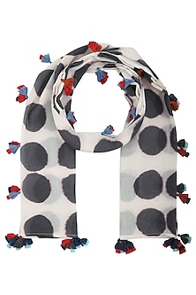Black and White Hand Clamp Dyed Scarf by Ka-Sha