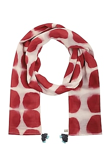 Red and White Hand Clamp Dyed Scarf by Ka-Sha