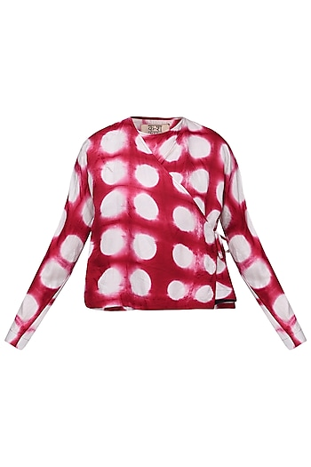 Red and White Hand Clamp Dyed Top by Ka-Sha