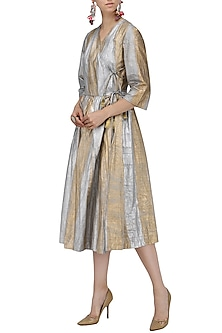 Gold and Silver Hand Painted Wrap Dress by Ka-Sha