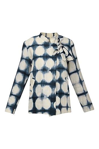 Indigo Blue Hand Clamp Crossover Neck Jacket by Ka-Sha