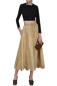 Gold Hand Painted Scalloped Midi Skirt by Ka-Sha-POPULAR PRODUCTS AT STORE