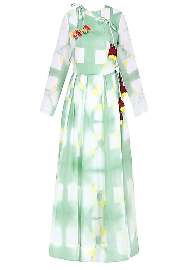 Mint Green Clamp Dyed Crossover Style Dress by Ka-Sha