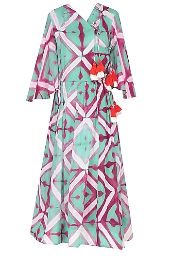 Sea Green Clamp Dyed Crossover Style Calf Length Dress by Ka-Sha