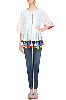 Mint Kedio Reversible Flared Jacket With Multicolor Tassel Hangings by Ka-Sha