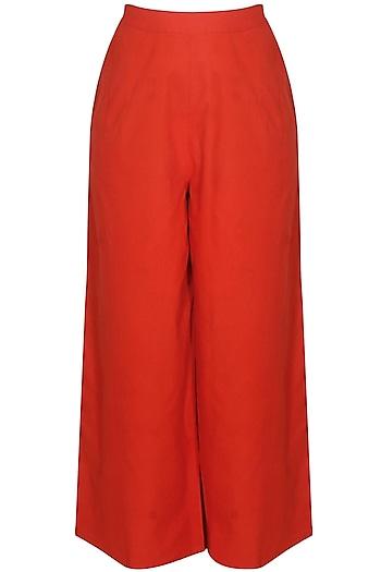 Red cotton straight pants by Ka-Sha