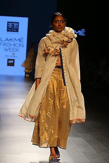 Gold box pleated cotton skirt by Ka-Sha