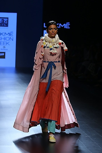 Rose pink handwoven crepe dress by Ka-Sha