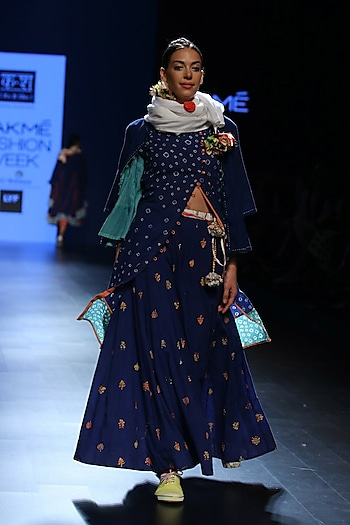 Ink blue and yellow floral motifs handprinted skirt by Ka-Sha