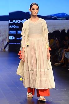 White Tassels Hanging Sheer Pleated Maxi Dress by Ka-Sha