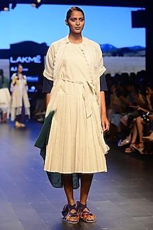 White Box Pleated Crossover Style Dress by Ka-Sha