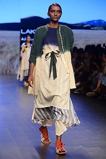 White Hand Dip Dyed Dress by Ka-Sha