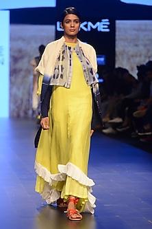 Yellow Frill and Tassel Tie Up Asymmetric Dress by Ka-Sha