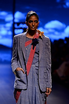 Indigo Checkered Collar Front Open Blazer by Ka-Sha