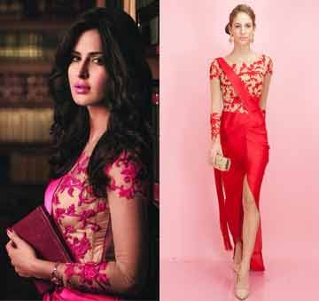 Red embroidered sari gown by Sonaakshi Raaj