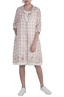 Dusty Rose & Beige Floral Embroidered Jacket Dress With White Inner by Kaveri
