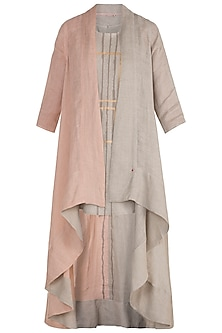 Beige & Dusty Rose Hand Screen Printed Flowy Jacket With Short Top by Kaveri