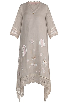 Beige Embroidered Hand Screen Printed Tunic by Kaveri