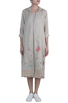 Beige Embroidered Hand Screen Printed Jacket Dress With Inner by Kaveri