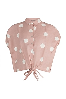 Dusty Rose Hand Screen Printed Top by Kaveri