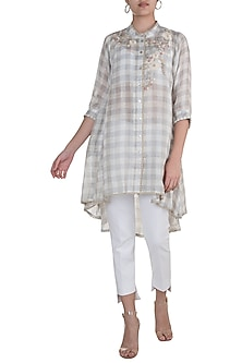 Multi Colored Daisy Embroidery Tunic by Kaveri