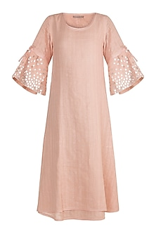 Dusty Rose Embroidered Dress With Subtle Print by Kaveri