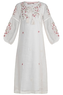 Off White Whimsical Floral Embroidered Dress by Kaveri