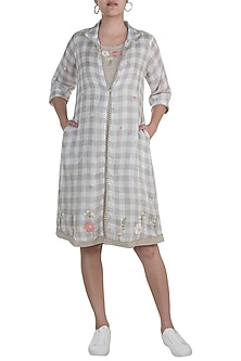 Grey & White Embroidered Jacket Dress With Beige Inner by Kaveri