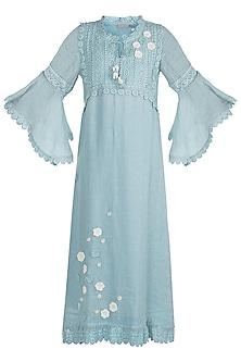Blue Floral Embroidered Dress by Kaveri