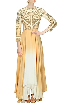 "Off white and beige ombre ""Racheal"" floral embroidered gown by Kartikeya"