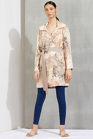 Beige Printed & Embroidered Trench Coat by Kavita Bhartia
