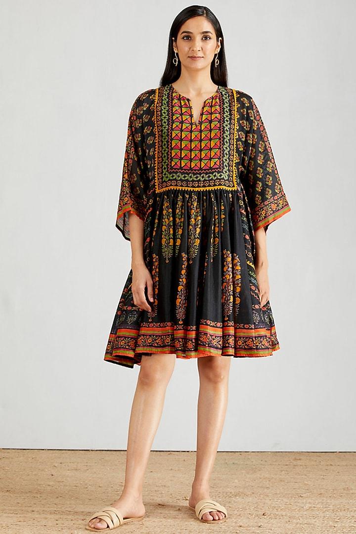Black Block Printed Flared Boho Dress by Kavita Bhartia