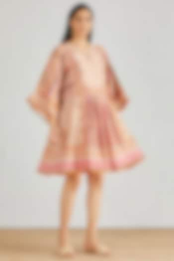 Nude Pink Hand Block Printed Boho Dress by Kavita Bhartia