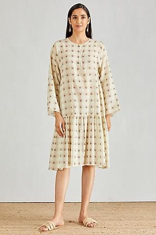 Beige Printed Boho Dress by Kavita Bhartia