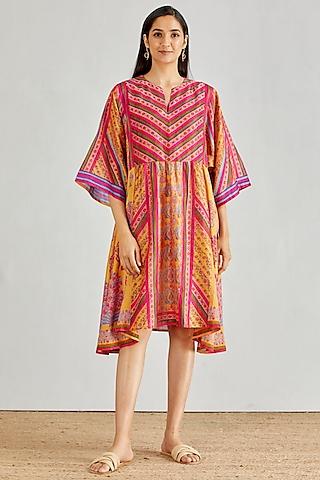 Mustard Hand Block Printed Boho Dress by Kavita Bhartia