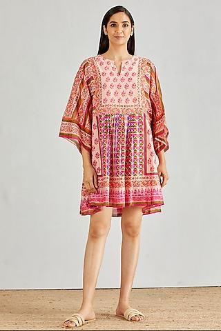 Pink Hand Block Printed Boho Dress by Kavita Bhartia