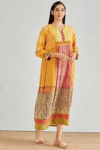 Yellow Hand Block Printed Midi Dress by Kavita Bhartia