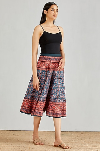 Blue Printed Paneled Skirt by Kavita Bhartia