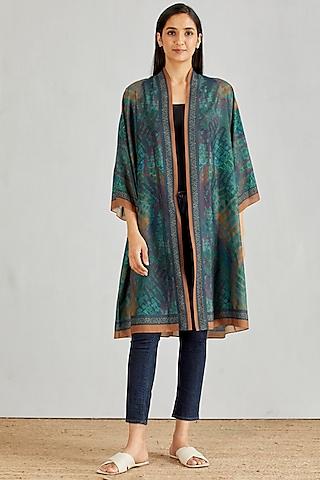 Multi Colored Printed Poly Muslin Kimono Cape by Kavita Bhartia