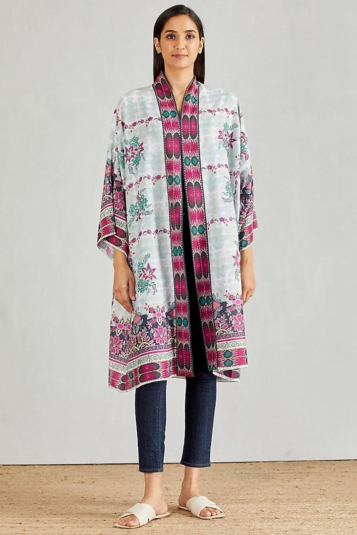 Multi Colored Printed Kimono Cape by Kavita Bhartia