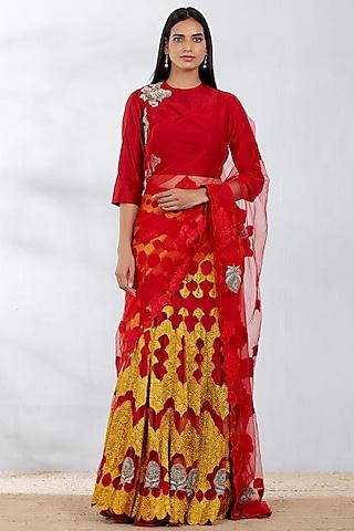 Red Embroidered Lehenga Saree Set by Kavita Bhartia