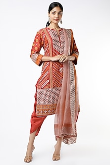Crimson Red Embroidered Kurta Set by Kavita Bhartia-POPULAR PRODUCTS AT STORE