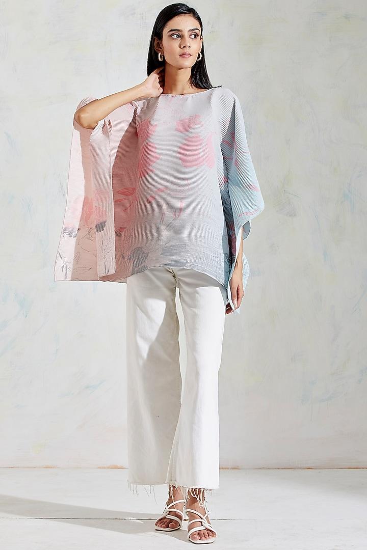 Pink & Aquatic Sage Shaded Hand Block Printed Poncho Top by Kavita Bhartia