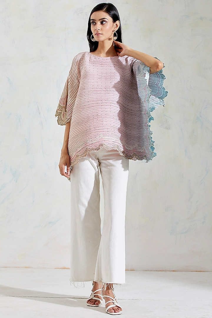 Pink & Aquatic Sage Shaded Printed Poncho Top by Kavita Bhartia