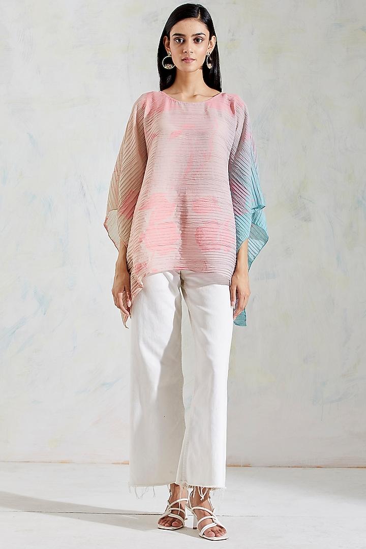 Pink & Aquatic Sage Shaded Poncho Top With Hand Block Rose Print by Kavita Bhartia
