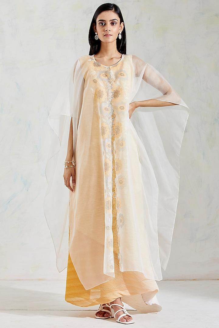Ivory & Yellow Shaded Dress With Hand Block Printed Cape by Kavita Bhartia