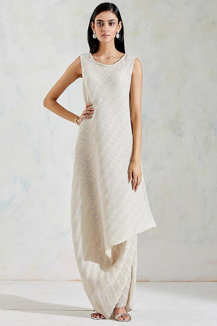 Ivory Crinkle Georgette Cowl Draped Dress by Kavita Bhartia