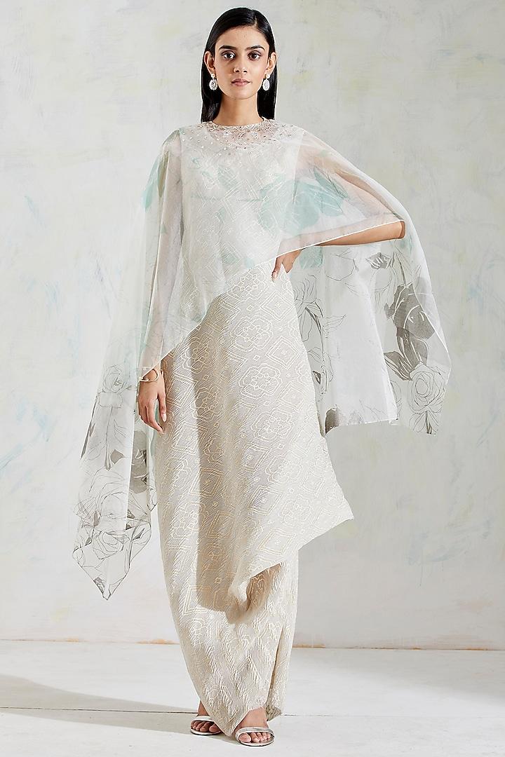 Ivory Cowl Draped Dress With Cape by Kavita Bhartia