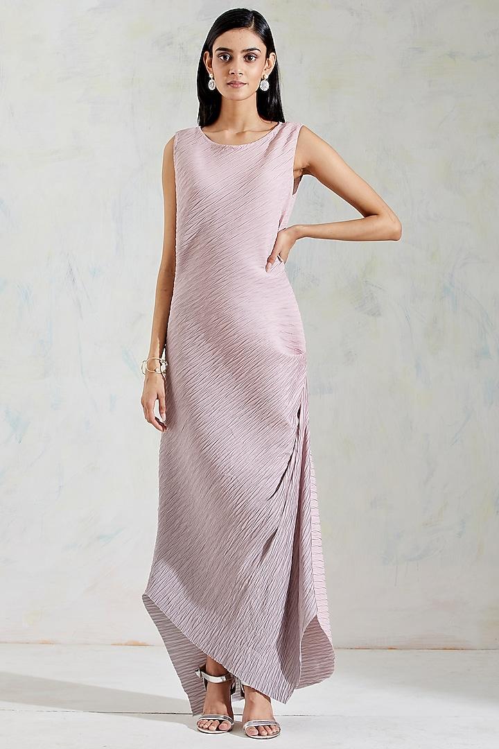 Pink & Grey Shaded Crinkle Crepe Draped Dress by Kavita Bhartia